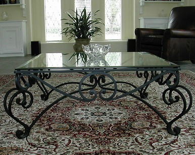 Wrought Iron Glass Top Coffee Table Coffee Table Bronze Iron Acanthus Leaf With Beveled Glass Home Decor (View 2 of 10)