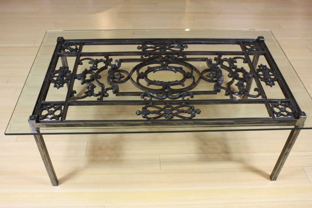 Wrought Iron Glass Top Coffee Table French Wrought Iron And Glass Top Coffee Table 4 Curved Wrought Iron Table Base For Rectangle (View 3 of 10)