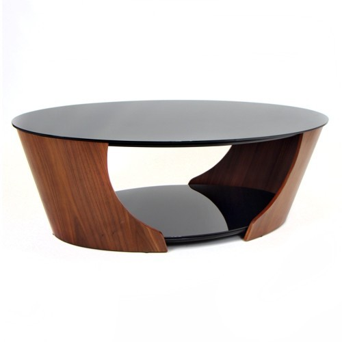 Xmodern_oval_walnut_Modern Wood Coffee Table Reclaimed Metal Mid Century Round Natural Diy All Modern Oval Coffee Tables (Photo 10 of 10)