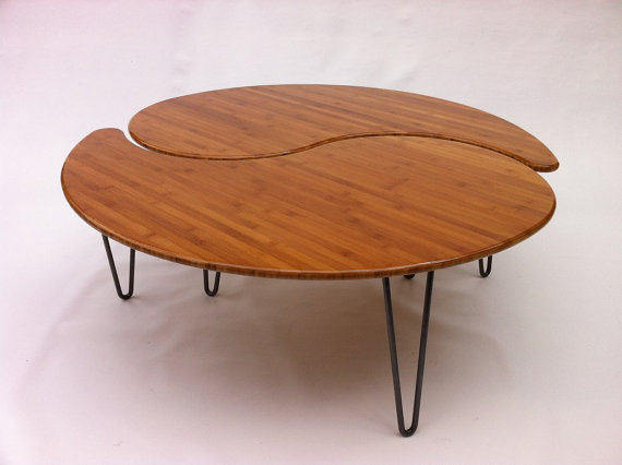 Yin Yang Nesting Large Round Coffee Table Mid Century Modern Atomic Era Design Large Round Coffee Table (Image 10 of 10)