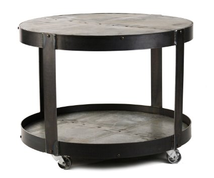 Zentique 1003 Recycled Metal Round Cocktail Table On Wheels Round Coffee Table With Wheels Coffee Tables Wheels In Tables (Image 10 of 10)