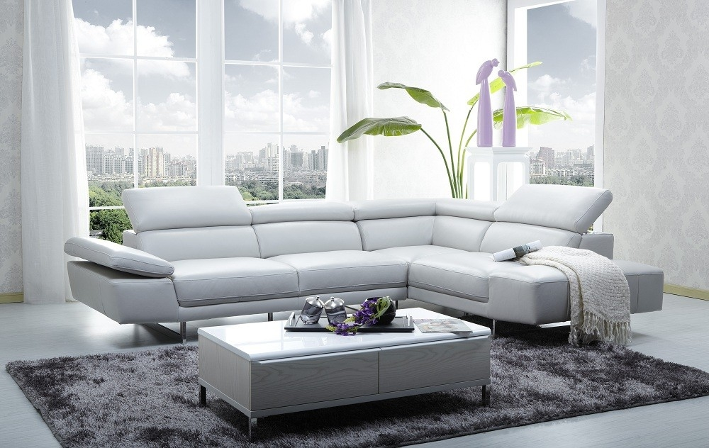 1717 Leather Sectional Sofa In Light Grey Color Jm Furniture nicely throughout Gray Leather Sectional Sofas (Image 1 of 20)