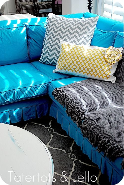 18 Best Bold Sofa Covers Images On Pinterest properly intended for Turquoise Sofa Covers (Image 1 of 20)