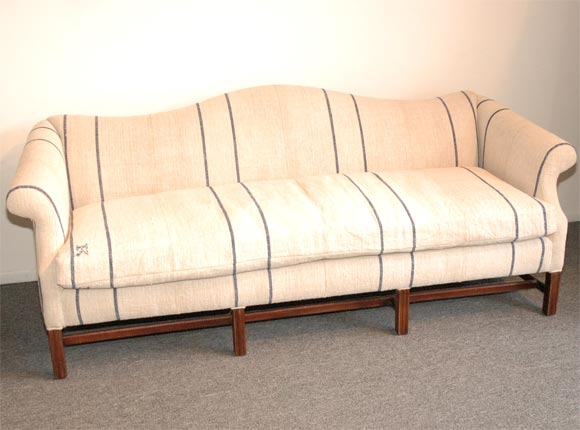 1930s Queen Anne Style Camel Back Sofa In 19thc Linen At 1stdibs Nicely Within 1930s Couch (View 20 of 20)