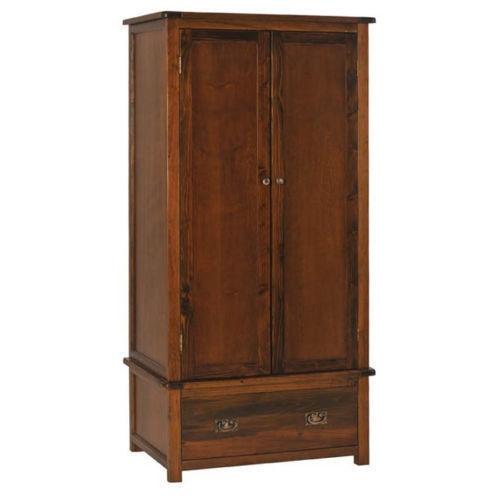 2 Door 1 Drawer Wardrobe Boston Bedroom Furniture Dark Wood clearly throughout Dark Wood Wardrobes (Image 4 of 20)
