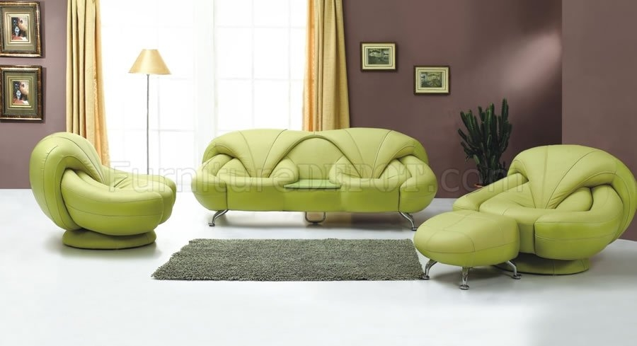 2 Piece Light Green Leather Sofa And Chair Set definitely with regard to Sofa and Chair Set (Image 1 of 20)
