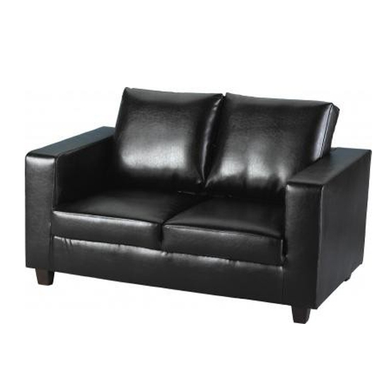 2 Seater Sofa In A Box Made Of Black Faux Leather definitely for Black 2 Seater Sofas (Image 4 of 20)