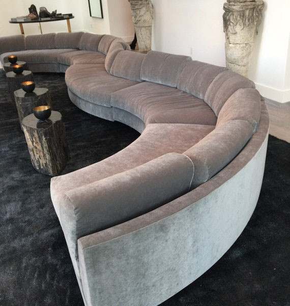 20 Foot Long Grey Modern Velvet Circle Sectional Sofa Bob Trendy Very Well Inside Circle Sectional Sofa (View 3 of 20)