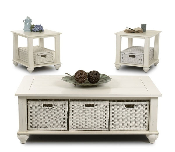 Popular Photo of Coffee Table With Wicker Basket Storage
