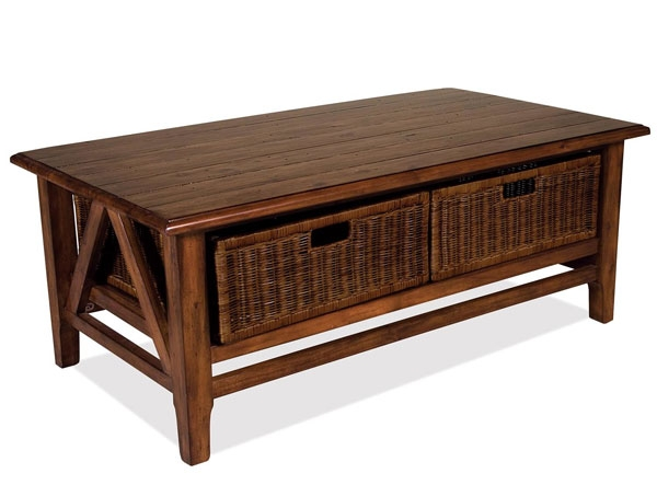 20 best ideas of coffee table with wicker basket storage. Black Bedroom Furniture Sets. Home Design Ideas