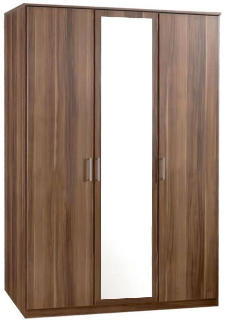 3 Door Mdf Solid Wood German Wardrobe With Mirror In Walnut Wenge effectively for Dark Wood Wardrobes (Image 6 of 20)