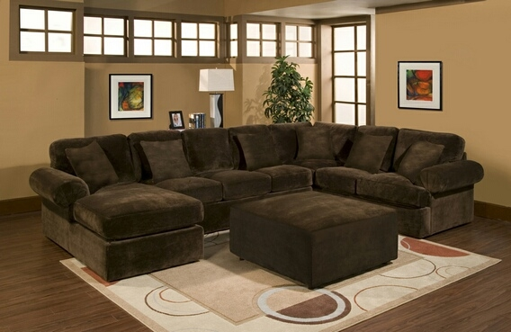 3 Pc Bradley Sectional Sofa With Chocolate Plush Velour Microfiber nicely with regard to Chocolate Brown Sectional Sofa (Image 2 of 20)