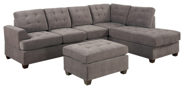 3 Piece Reversible Sectional Sofa Set Gray Charcoal perfectly with 3 Piece Sectional Sleeper Sofa (Image 1 of 20)