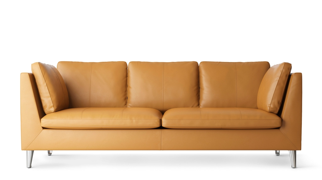 3 Seater Leather Sofa Ikea most certainly inside Orange IKEA Sofas (Image 1 of 20)