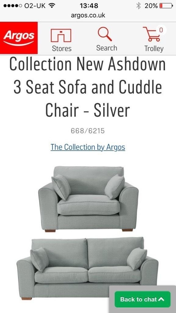 3 Seater Sofa And Cuddle Chair In Silver In Prenton Merseyside most certainly pertaining to 3 Seater Sofa and Cuddle Chairs (Image 7 of 20)