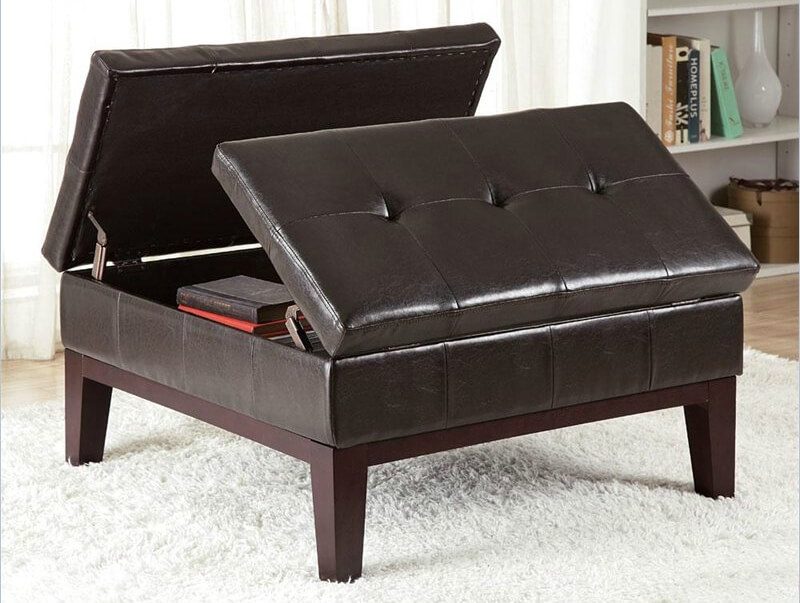 36 Top Brown Leather Ottoman Coffee Tables certainly pertaining to Brown Leather Ottoman Coffee Tables With Storages (Image 2 of 20)