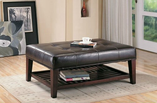 top brown leather ottoman coffee tables square table storage with tray trays