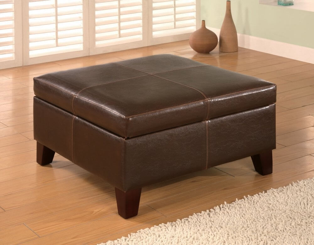 36 Top Brown Leather Ottoman Coffee Tables perfectly throughout Brown Leather Ottoman Coffee Tables With Storages (Image 3 of 20)