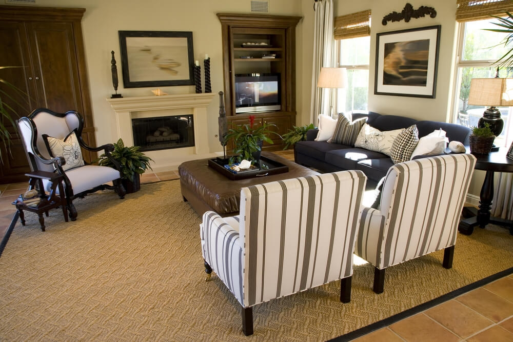50 Beautiful Living Rooms With Ottoman Coffee Tables Very Well Pertaining To Sofa Table With Chairs (Photo 14 of 20)