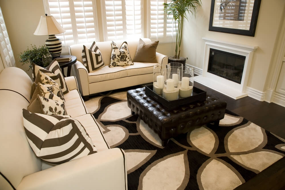 50 Beautiful Living Rooms With Ottoman Coffee Tables Very Well Throughout Brown Leather Ottoman Coffee Tables (Photo 16 of 20)