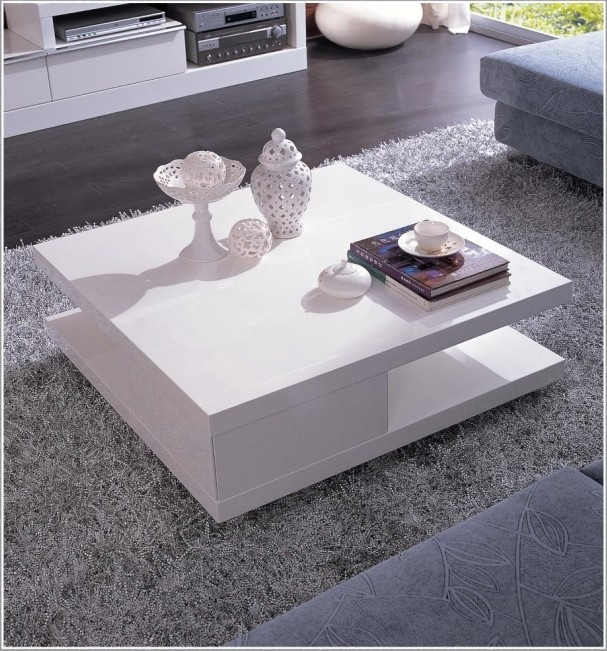 5114c Modern White Lacquer Coffee Table La Furniture Living good for Lacquer Coffee Tables (Image 1 of 20)