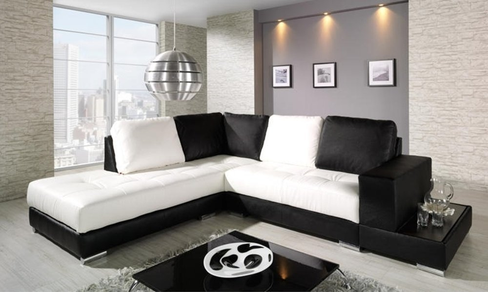 58 Black And White Sofa Black And White Checkered Leather Effectively Throughout White And Black Sofas (Photo 17 of 20)