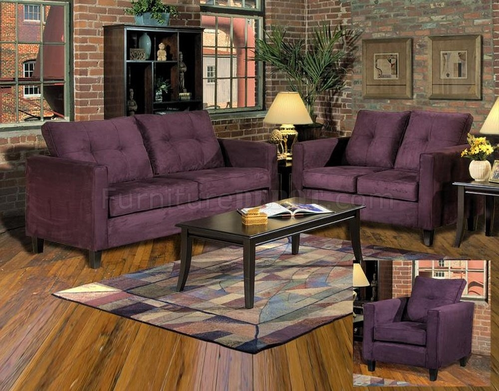 5900 Heather Sofa Loveseat Set In Eggplant Fabric Chelsea perfectly pertaining to Eggplant Sectional Sofa (Image 1 of 20)