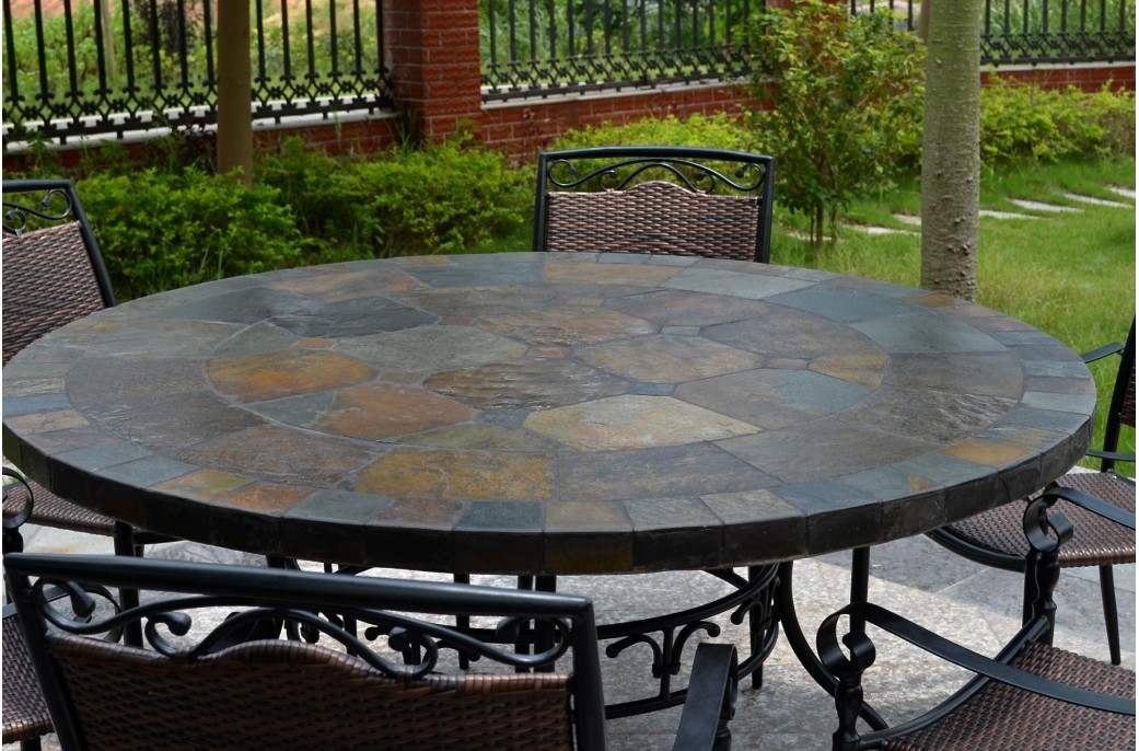63 Round Slate Outdoor Patio Dining Table Stone Oceane clearly intended for Round Slate Top Coffee Tables (Image 1 of 20)