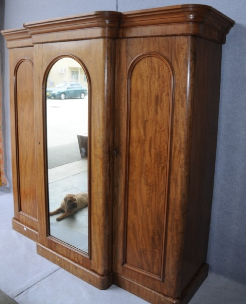 A Victorian Flame Mahogany Breakfront Wardrobe Wardrobes And clearly pertaining to Victorian Mahogany Breakfront Wardrobe (Image 2 of 20)