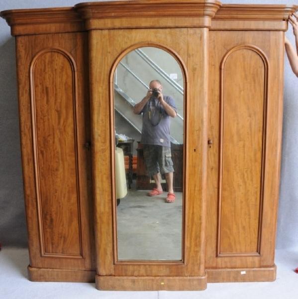A Victorian Flame Mahogany Breakfront Wardrobe Wardrobes And well for Breakfront Wardrobe (Image 4 of 30)