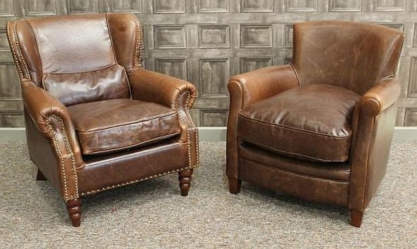 A Vintage Style Leather Armchair Brown Aged Leather very well throughout Vintage Leather Armchairs (Image 3 of 20)