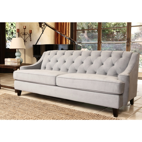 Abson Living Claridge Steel Blue Velvet Fabric Tufted Sofa good with Blue Tufted Sofas (Image 2 of 20)