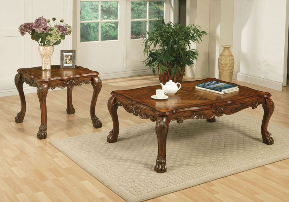 Acme 12165 Dresden 2pcs Cherry Oak Coffee Table Set End Table good for Cherry Wood Coffee Table Sets (Image 1 of 20)