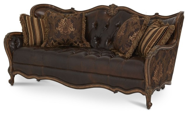 Aico Furniture Lavelle Melange Leatherfabric Wood Trim Tufted properly with regard to Victorian Leather Sofas (Image 1 of 20)