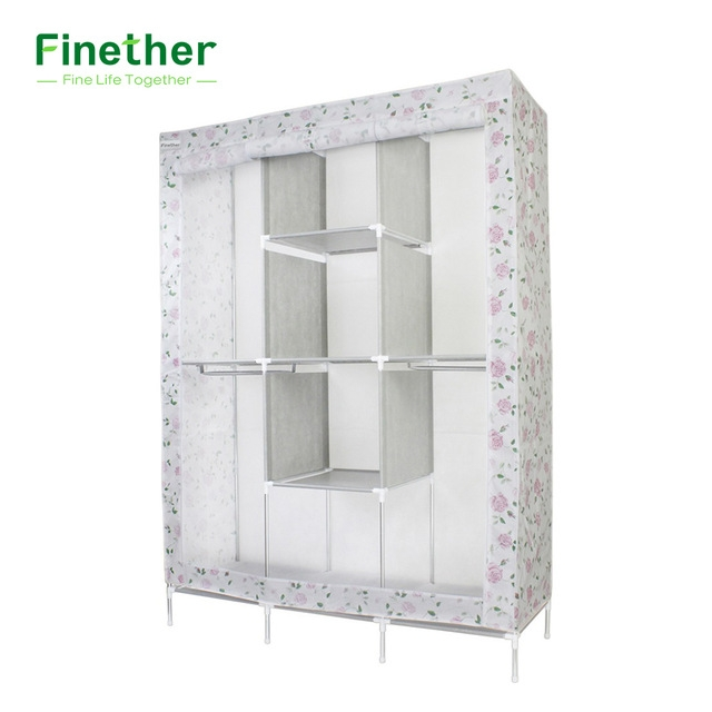 Aliexpress Buy Finether Double Modular Metal Framed Fabric well throughout Wardrobe Double Hanging Rail (Image 18 of 20)