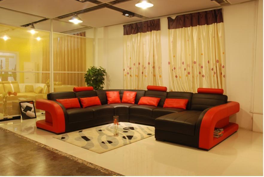 Aliexpress Buy Free Shipping Furniture Sofa Classic Black properly regarding Large Black Leather Corner Sofas (Image 3 of 20)