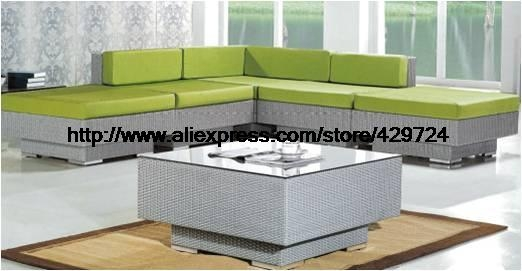 Aliexpress Buy Garden Furniture Modern L Shaped Green Rattan properly throughout Sofa Table Chairs (Image 4 of 20)