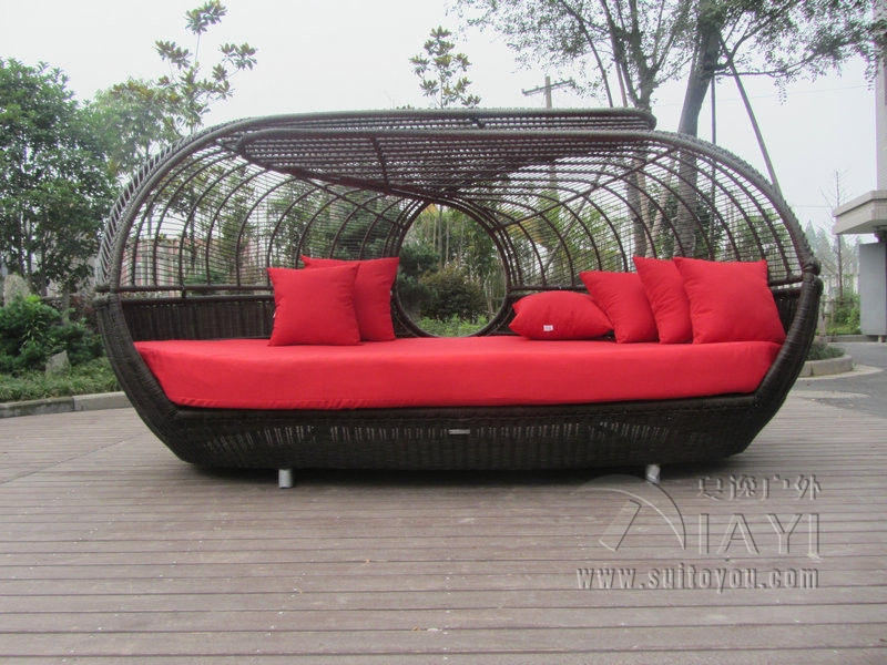 Aliexpress Buy Luxury Outdoor Rattan Daybed With Canopy well with Outdoor Sofas With Canopy (Image 2 of 20)