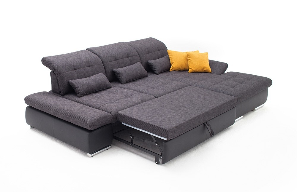 Alpine Sectional Sleeper Sofa Right Arm Chaise Facing Dark Grey perfectly in Sectional Sleeper Sofas With Chaise (Image 1 of 20)