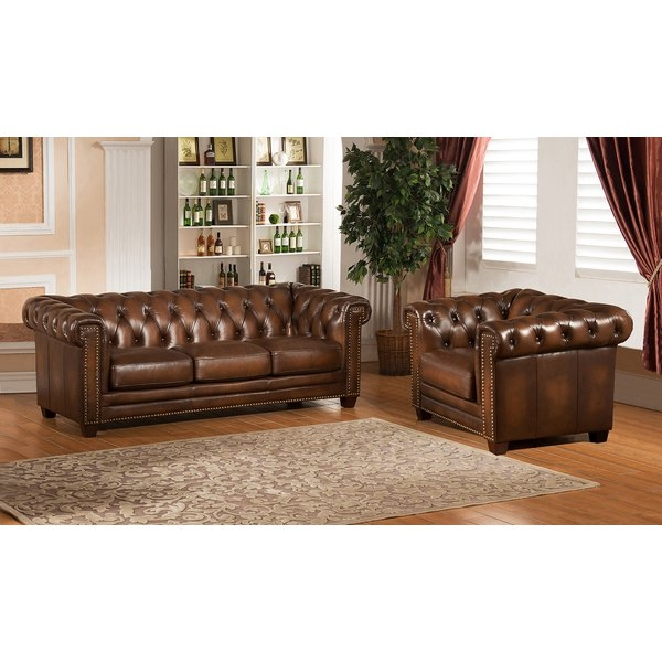 Amax Hickory Chesterfield Genuine Leather Sofa And Chair Set Wayfair properly with regard to Sofa and Chair Set (Image 2 of 20)