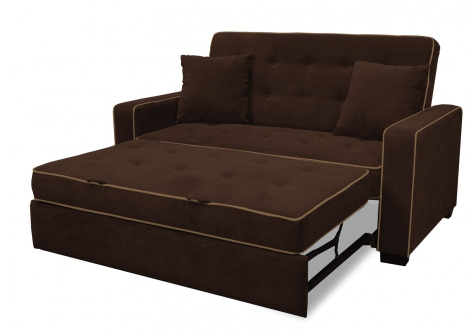 Amazing Ikea Sleeeper Sofa Pull Out Bed Frame Brown Microfiber clearly throughout IKEA Single Sofa Beds (Image 1 of 20)