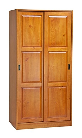 Amazon 100 Solid Wood 2 Sliding Door Wardrobearmoirecloset definitely intended for Solid Wood Fitted Wardrobe Doors (Image 22 of 30)