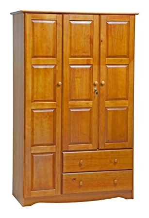 Amazon 100 Solid Wood Grand Wardrobearmoirecloset good pertaining to Pine Wardrobe With Drawers And Shelves (Image 19 of 30)