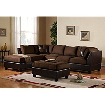 Amazon 3 Piece Modern Microfiber Faux Leather Sectional Sofa effectively throughout Chocolate Brown Sectional Sofa (Image 3 of 20)