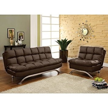 Amazon Aristo Bi Cast Leather Convertible Sofa And Chair Set perfectly intended for Sofa and Chair Set (Image 3 of 20)