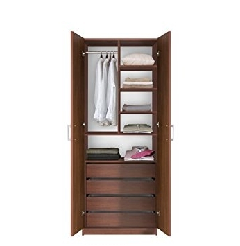 Amazon Bella Wardrobe Closet 4 Interior Drawers Double very well throughout Double Wardrobe With Drawers and Shelves (Image 6 of 30)
