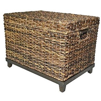 Amazon Brown Wicker Storage Trunk Coffee Table Threshold Effectively Within Coffee Table With Wicker Basket Storage (View 7 of 20)