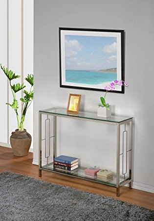 Amazon Chrome Metal Glass Accent Console Sofa Table With effectively intended for Metal Glass Sofa Tables (Image 1 of 20)