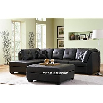 Amazon Contemporary Black Leather Sectional Sofa Left Side certainly intended for Contemporary Black Leather Sectional Sofa Left Side Chaise (Image 3 of 20)