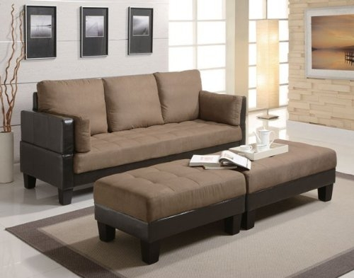 Amazon Fulton Contemporary Sofa Bed Group With 2 Ottomans effectively inside Fulton Sofa Beds (Image 1 of 20)